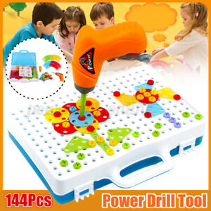 3D Electric Drill Puzzle Toy Set Kids Building Model Blocks Assembly Tool M A