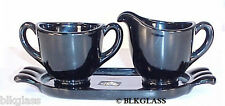 3 piece Jet Viking Black Glass Labels Creamer Sugar Tray Tea Size Sleek Ebony