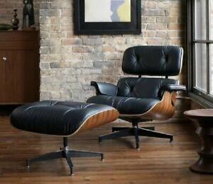 Premium Mitte des Jahrhunderts Eams Lounge Chair mit Ottoman Echtes Leder Sessel