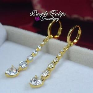 18CT Yellow Gold Filled  Huggie Dangle Stud Earrings Made With Swarovski Crystal