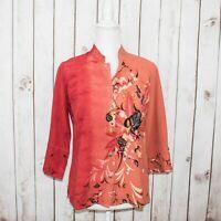 CITRON of Santa Monica Women's Silk Mandarin Collar Blouse Coral Pink Floral XS