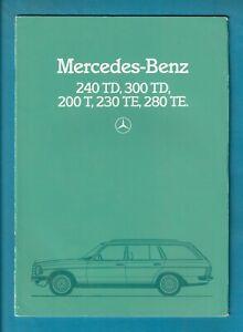 MERCEDES-BENZ 240TD/300TD/200T/230TE/280TE 32 PAGE BROCHURE + spec sheets 1983