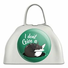 Black Fox I Don't Give A Pun White Metal Cowbell Cow Bell Instrument