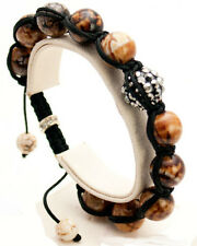 SEMIPRECIOUS JASPER STONE SMOOTH BALL BEADED BLACK CORD SHAMBALLA  BRACELET