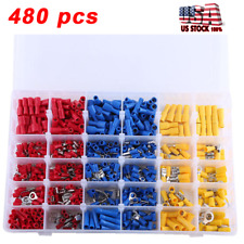 480 pcs Assorted Insulated Electrical Wire Terminals Crimp Spade Connectors Set