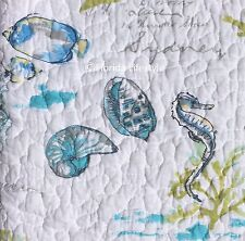 2-pc ☆ TROPICAL FISH SEAHORSES ☆ Twin Quilt Set SIGRID OLSEN Coastal Beach House