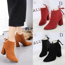 Fashion Womens Ankle Martin Boots Thick High Heel Faux Suede Zipper Winter Shoes