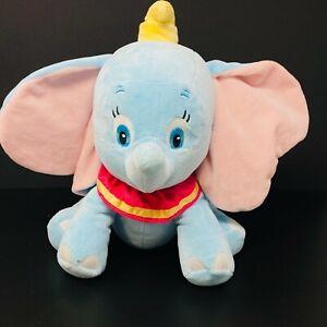 "Disney Baby Dumbo Plush Blue 12"" Stuffed Lovey Sewn Eyes Yellow Hat Pink Collar"