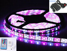 5M RGBW RGB + Cool White LED Strip Light Kit + 12V Adapter Remote Under Cabinet
