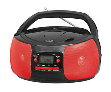 TREVI Stereo Portatile Boombox CD MP3 RADIO FM AM AUX-IN presa in rosso e nero