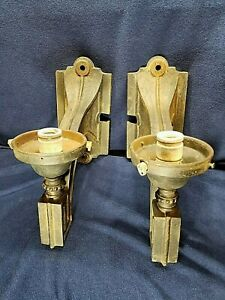 Antique Pair Cast Iron Architectural Wall Sconces 1900 Outdoor Lights Large