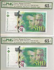 France 500 Francs 1994 P160a UNC (consecutive pair PMG 65EPQ)