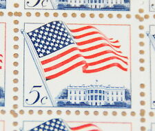 1963 sheet, 5-cent Flag and White House, Sc# 1208