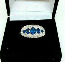 Stunning 14ct White Gold Diamond And Sapphire Ring Size R - MUST SEE
