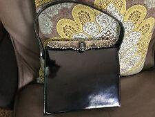 Vintage 1950's Triangle New York Black Patent Leather Box Purse Handbag w/Cameo