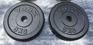 """2 x 5KG York Cast Iron Weights 10KG Gym YB Barbell Dumbbell 1"""" Fitness"""