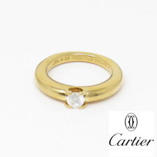 NYJEWEL Cartier 18k Yellow Gold 0.3ct Diamond Solitaire Band Ring