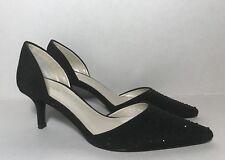 Caparros Womens Black Crystal Embellished Point Toe Evening Pumps Heels Size 6.5