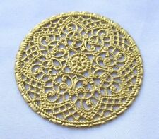 Round Filigree Finding 41mm Flower Brass Stampings bf263 (6pcs)