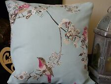 DUNELM BEAUTIFUL BIRDS CUSHION COVER.  BLOSSOM, BUTTERFLIES. DUCK EGG BLUE. 16""