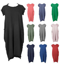 New Womens Italian Lagenlook Quirky Boho Jersey Cotton Two Pocket Tunic Dress