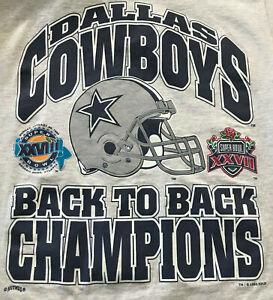 Dallas Cowboys Super Bowl Champions Back to Back Vintage T-Shirt EX CONDITION