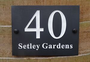 High Quality Deep Engraved Natural Slate House Name Number Sign Plaque 20 x 15cm