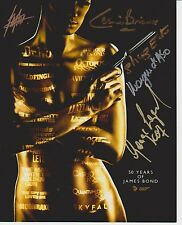 James Bond Poster Photo Signed by 5 Bond Actors including George Lazenby!!! G267
