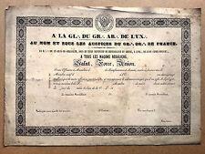 Diplôme de récompense Orient de la Croix Rousse Lyon GADLU Franc maçonnerie