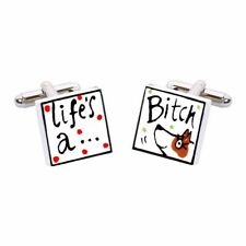 Sonia Spencer Life's a Bitch Cufflinks With Brown Dog Hand Painted