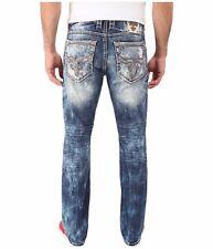 MENS ROCK REVIVAL JEANS Flann Alternative Low Slim Straight Leg 34 Long $169