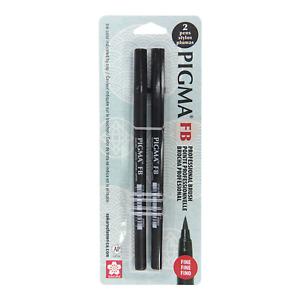 SAKURA 50025 Pigma FB Professional Fine Brush Black Pens, 2 Piece Set