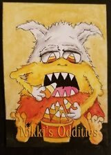 ACEO Candy Corn Monster Watercolor Original Painting by Nikki C NFAC