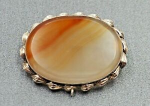 Vtg 925 Sterling Silver Real Red Agate Gemstone 2 Tone Pin BroochPendant