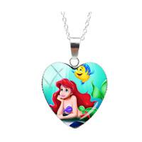 The Little Mermaid Necklace Heart Pendant Disney Princess Ladies Girls Gift