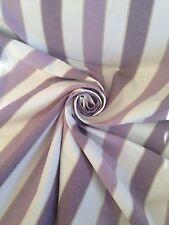 Shabby Chic 8 Metre Beach Hut Stripe Lavender Curtain Fabric   Cotton