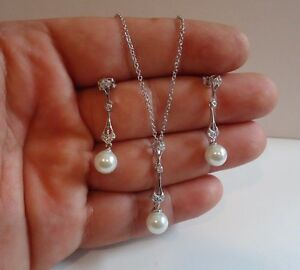 925 STERLING SILVER DROP PEARL NECKLACE PENDANT W/ DANGLING EARRINGS SET