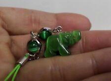 Cats Eye Stone Elephant Cell Phone Strap Charm Mascot Green