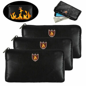 Fireproof Document Bag Waterproof Money Safe Pouch - Protect Cash Passports File