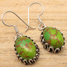 Earrings ! Women' Overall Fit Jewelry 925 Silver Plated Green Copper Turquoise