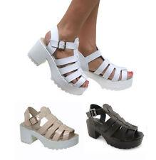 Leather Buckle Casual Block Women's Sandals & Flip Flops