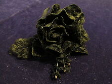 "All Black Millinery Flower 4"" Velvet Rose + Forget Me Nots for Hat + Hair Y254"