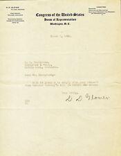 1930 Autographed Letter from Congressman D.D. GLOVER