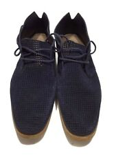 BOSS HUGO BOSS MEN'S NAVY PERFORATED SUEDE LACE UP SHOES, 8 8.5, $495