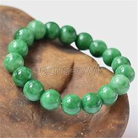 12mm 100% Natural Green Jade Jadeite Round Gemstone Beads Bangle Bracelet AAA