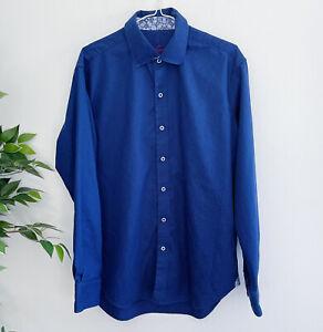 Robert Graham Men's Size M Medium Long Sleeve Button Front Shirt Blue Flip Cuff