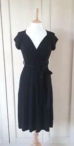 L K Bennett black short sleeve jersey midi dress size 8 - 10
