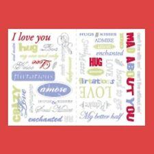 MAKING MEMORIES Rub-On Transfers 34 pcs WORDAGE LOVE 2 sheets Colored