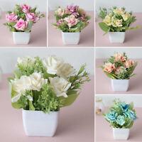 Artificial Plants Bonsai Pot Fake Flowers Tree Plant Home Garden Desktop Decor