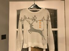 LOVELY BNWT M&S XMAS SPARKLY REINDEER CREAM MIX COTTON JUMPER - S